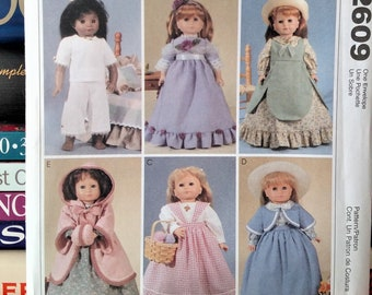 2007 McCall's Crafts Pattern 2609-18 inch Doll Clothes-6 Outfits-Dresses-Shawl-Pinafore-Top-Skirts-Bolero-Top-Coat-Muff-UNCUT