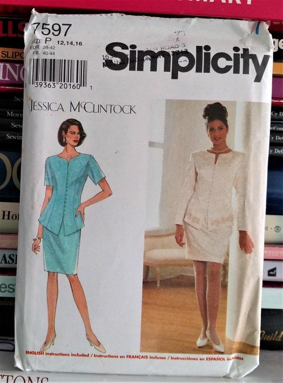 44fbcee666 1997 Simplicity Designer Jessica McClintock 7597Jacket
