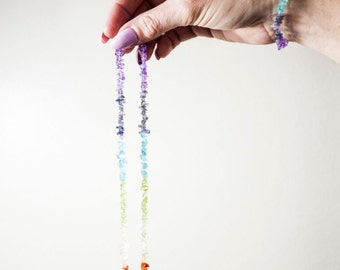 Chakra Gemstone Set/7 Chakra Gemstone Set Necklace and Bracelet