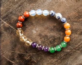 Chakra Bracelet/ 7 Chakra Bracelet/ Chakra Jewelry/ Crystal Beads/ Beaded Bracelet/ Gifts for Girls/ Xmas Gifts/ Stocking Stuffers