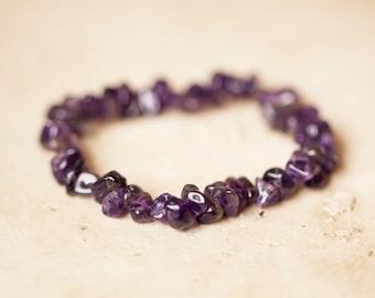 Amethyst Crystal Bracelet/ Amethyst Jewelry/ Crystal Jewelry/ Crystal Bracelet/ Bracelet/ Amethyst Beads/ Gemstone Jewelry