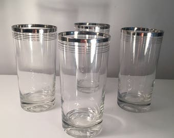 Swanky Vintage Retro Mid Century Modern Drinking Glasses Silver Rimmed and Silver Stripes - set of 4