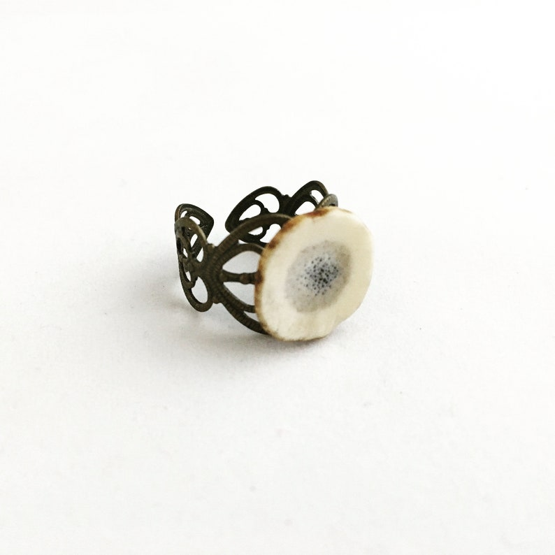 Natural Deer Antler Gift Box Jewelry Filigree Band Antler Ring Bone Adjustable Rustic Organic Nickel Free