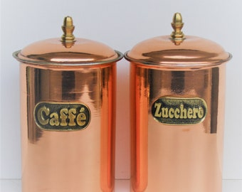 Smooth burnished Copper cylindrical version Copper jars to coffee and sugar