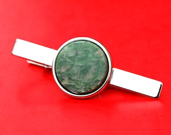 Tie Clip Tie Bar Gemstone Tie Tack Tac With Amber Dragon Vein Agate Gemstone Cabochon Setting Gemstone Tie Tack Clip 15059