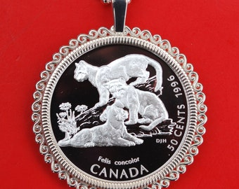 Lion 1977 Ethiopia 50 Cents BU Uncirculated Coin Solid 925 Sterling Silver Necklace NEW