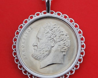 Greek Cut Coin Democritus Coin Necklace GREECE Democritus Cut Coin Democritus Greece Necklace Greece Greek Jewelry Greek philosopher