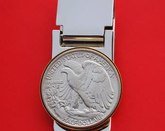 Wide Design US 1947 Walking Liberty Half Dollar Stainless Steel Large Money Clip NEW