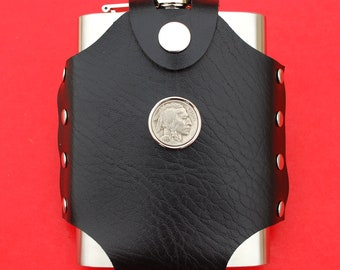 Liquor Wine etc. Water US 2001 Rhode Island State Quarter BU Uncirculated Coin Leak Proof Black PU Leather Wrapped Stainless Steel 8 Oz Hip Flask