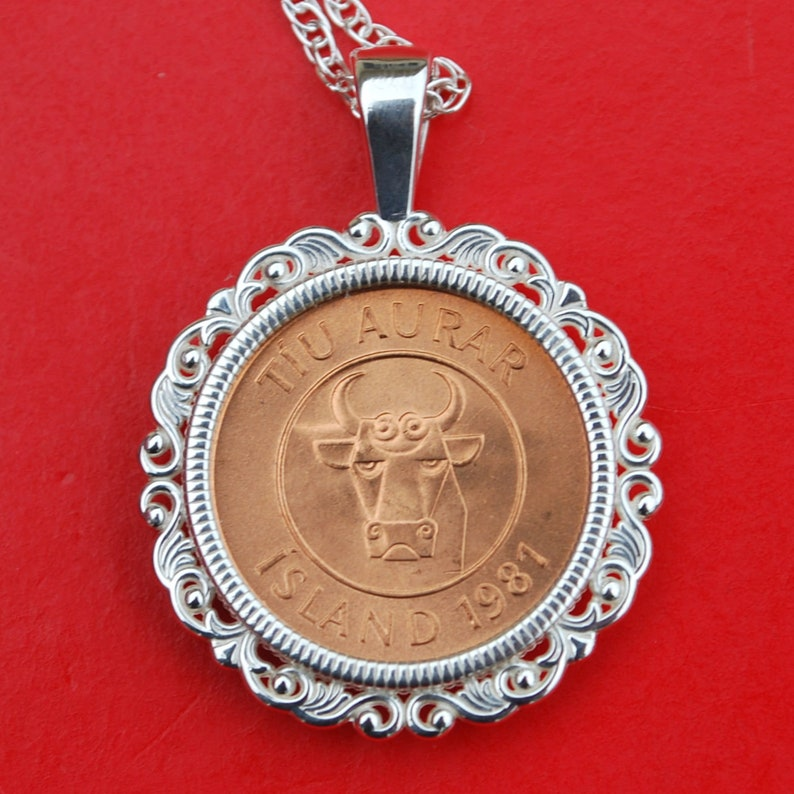 Bull Head 1981 Iceland 10 Aurar BU Uncirculated Coin Solid 925 Sterling Silver Necklace NEW