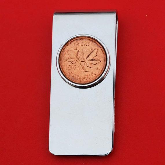 1964 Canada 1 Cent BU pièce incirculée laiton massif argenté pince à billets en nouvelle - feuille d'érable