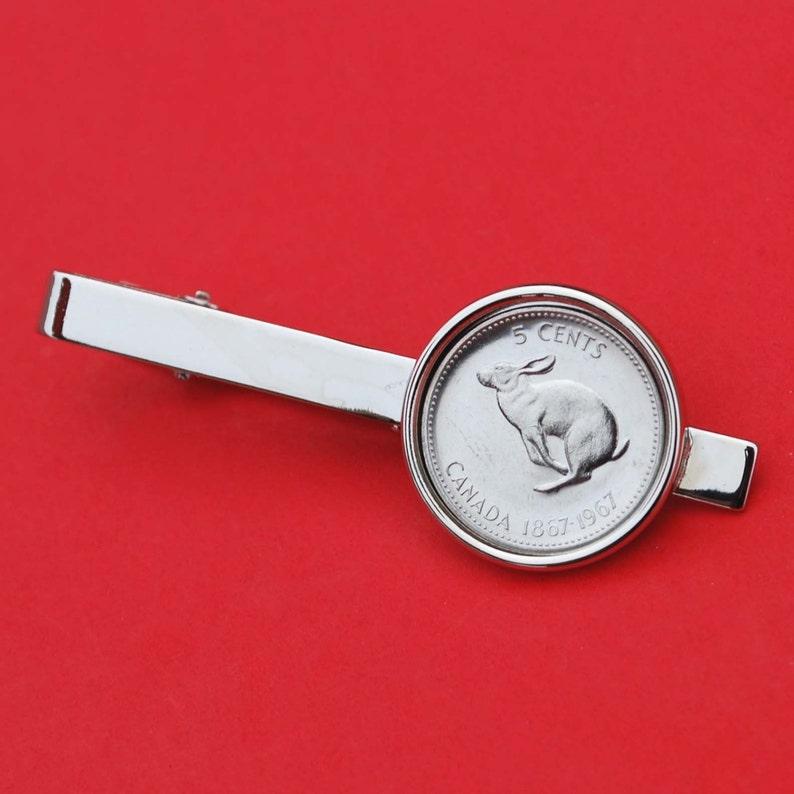 Canada 1967 Canada 5 Cent Rabbit Centennial Gem BU Coin Tie Clip Wildlife Animal