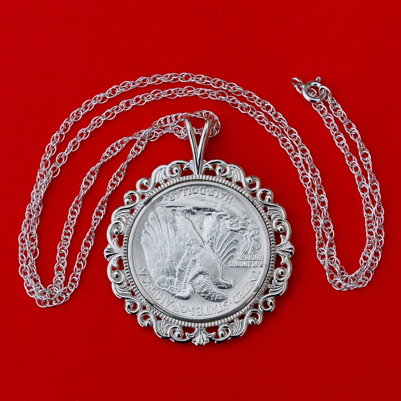 US 1939 Walking Liberty Half Dollar 90/% Silver XFAU Coin Solid 925 Sterling Silver Necklace w 20 Sterling Silver Chain New