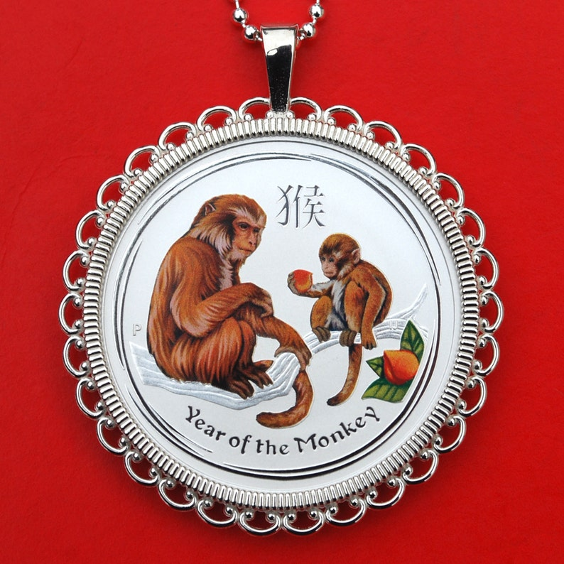 2016 Australia Lunar Chinese Monkey Year 12 oz .999 Fine Silver Round Colorized BU Uncirculated Coin 925 Sterling Silver Necklace NEW