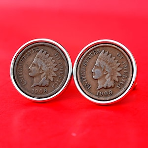 Lucky Penny US 1859 ~ 1909 Indian Head Small Cent Coin Silver Plated Stainless Steel Money Clip NEW