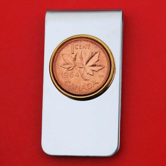 1964 Canada 1 Cent BU pièce incirculée or deux tons en acier inoxydable argent argent Clip nouveau - feuille d'érable
