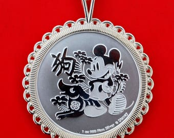 2018 Disney Mickey Mouse Niue Lunar Year of the Dog 1 oz Silver 925 Sterling Silver Necklace NEW