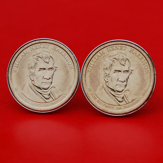 A Pair of US 1989 Jefferson Nickel 5 Cent BU Uncirculated Coin Silver Plated Cufflinks NEW