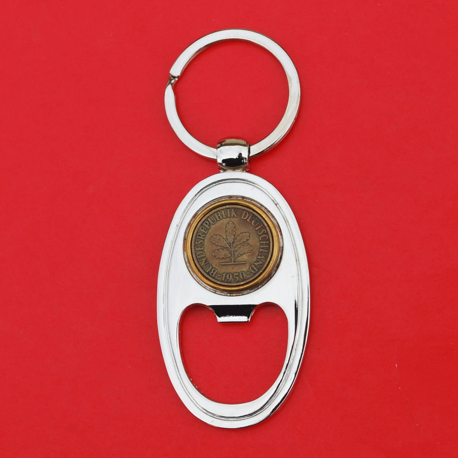 1950 Germany 5 Pfennig Coin Key Chain Ring Bottle Opener NEW - An Oak Seedling