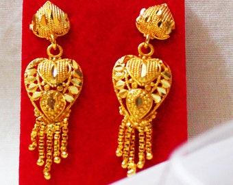 0f5657eba Antique Jewellery Indian Gold Traditional Earrings Wedding Drop Dangles  Fashion Jewelry Gift For Her Ethnic Wear Designer Earrings Women Set