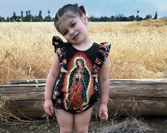 Virgen De Guadalupe Romper, Virgin Mary Outfit, Virgin Mary toddler Outfit, Virgin Mary Baby Romper, Virgen De Guadalupe Baby toddler outfit