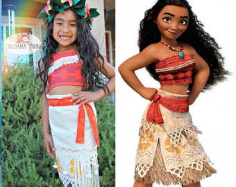 Moana Costume, Moana Dress Moana, Moana Crown, Hawaiian Princess Costume, Moana Birthday, Moana Dress-up, Girls Moana, Toddler Moana