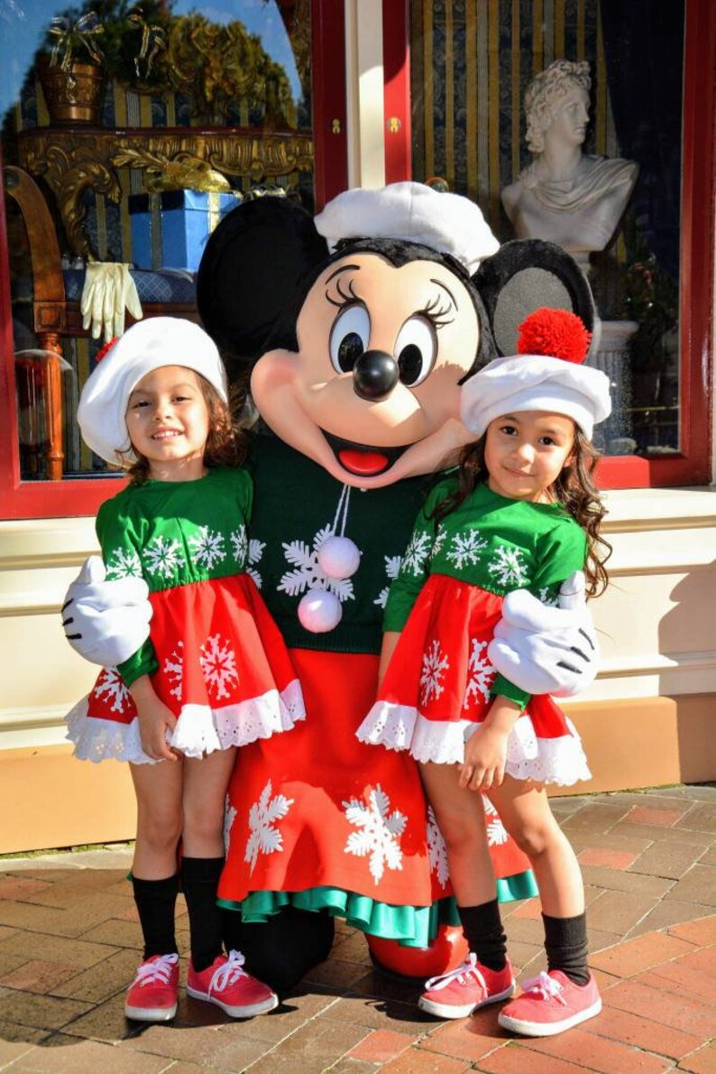 Minnie Mouse Christmas Dress.Minnie Inspired Christmas Dress Minnie Holiday Dress Disneyland Christmas Outfit Minnie Snowflake Dress Minnie Mouse Inspired Christmas