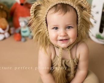 Lion Bonnet with fur. Photo prop lion bonnet. Baby to Child lion bonnet.Safari lion bonnet. Infant lion