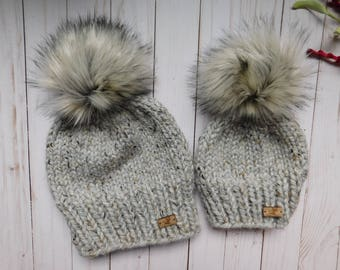 Mommy and Me matching hats. Mom and son hats. Mom and daughter hats. Ivory  poms. Hats with faux pom.Silver fox pom pom. gray hat. e1d2a51ec33