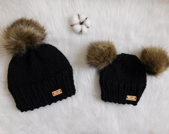 Matching Mommy and Me hats. Hats with double pom pom. mom and son hats. Mom  and Daughter matching hats. Winter hat faux fur pom pom. 3e59069bbd5f