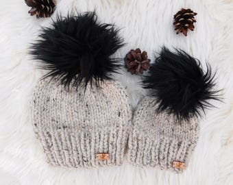Matching Mommy and Me hats.Mom daughter hats. Mom son Matching hats. Hat  with fur faux pom poms.Mom and son matching hats 3ea2f1e08ddd