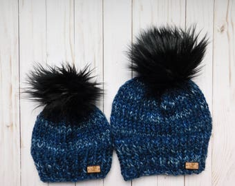 Blue Matching hats. Mommy and Me hats. Mum and son matching hats. Mom and Daughter  hats .RTS. Hat with faux poms 3400d5772ee2