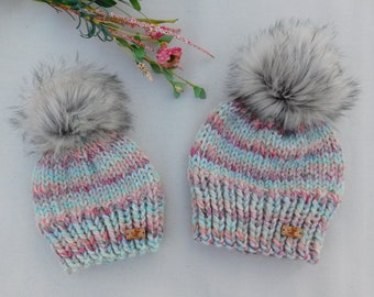 9d578e2e274 Ready to ship Mommy and Me matching hats. Toddler winter hat. Mother and  daughter hat set. Shower gift ideas. baby and mom matching hats