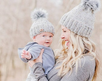 45b5fc7b96e Design your own Matching hats Mommy and Me hats. Mom Son hats.Mom daughter  hats. Mom and baby matching hats.Toddler hats.Pom pom hats.