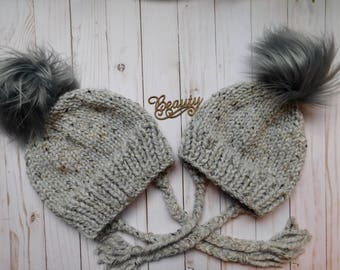 Mommy and Me matching hats with ear flaps.Mom and daughter hats. Mom and son  matching hats. Neutral matching hats. winter hats with ear flap c208f0ab4b5