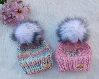 566d4db86a5 Big sister Little sister matching hats. Sisters hats. Bring home Little  sister outfit. matching hats. Knitted girls hats with pom pom.