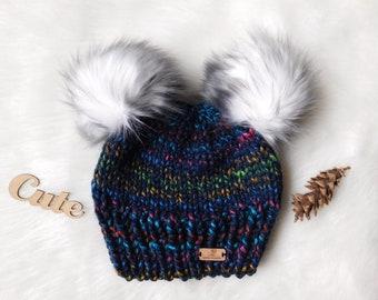 067f65bf1b7 Double faux fur pom pom. Newborn Child toddler pom pom hat. Bear hat.Faux fur  hats. Adult Double faux fur pom pom