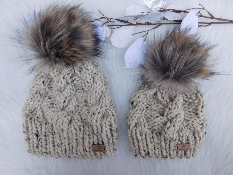 6e5be076eba Matching Mommy and Me Cabled hats with pom pom. Winter hat.