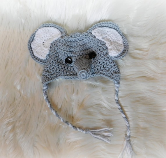 6dfcf67ee0d Newborn Elephant hat with ear flaps. Newborn Photo Props for