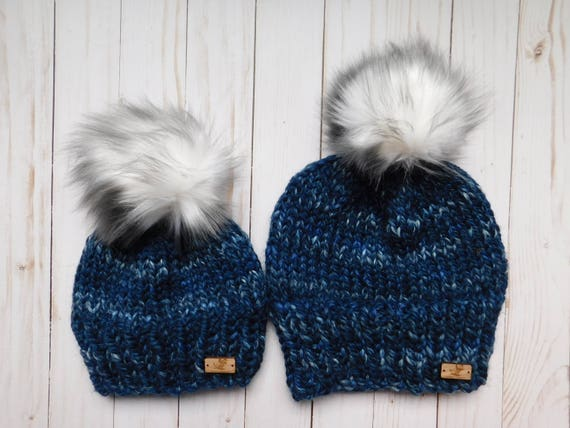 Blue Matching hats. Mommy and Me hats. Mum and son matching  389a143aca0