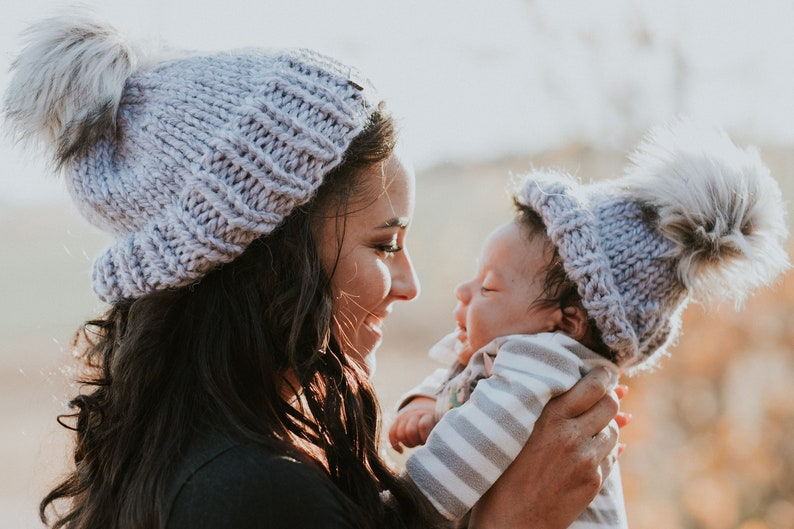 31e7d200352c1 Matching Mommy and me hats. Wool free winter hats. Mom and