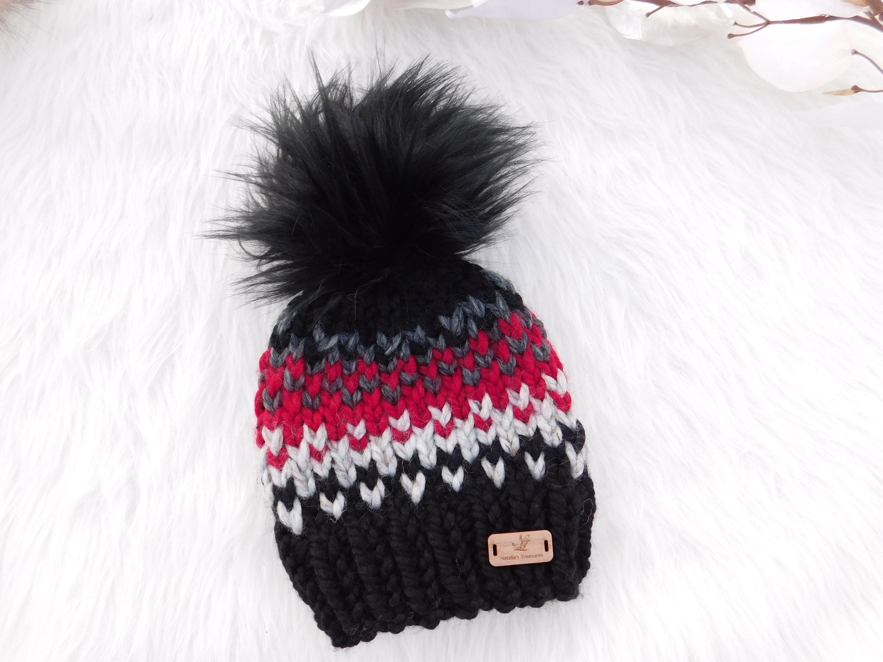 Winter hat for boys. Black red hat for guys. Ready to ship  a8a42fd85f4