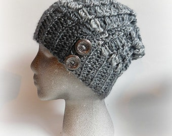 Slouchy hat.Womens Gift.Hat with buttons.Gray hat for women. Gift ideas for her. Elegant hat. Ombre gray hat. Winter hat for women.