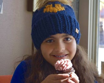Heart fur faux pom pom beanie. heart knit hat girls. Gray and pink hat. Ready to ship