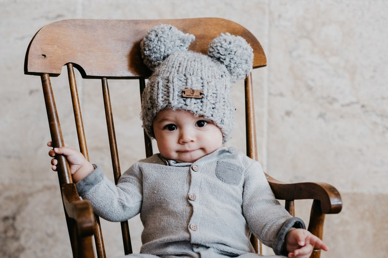 f88d9399fb659 Double Pom pom knit hat. Design your own hat. Toddler winter