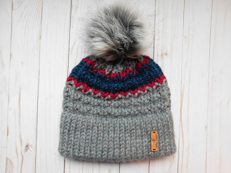 1da022413 Grey Winter hat for adults and kids. Unisex winter hat. Child to Adult  Grey,red ,blue hats.Double brim knitted hat.