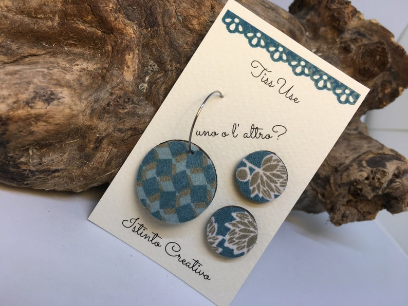 Three earrings you can choose wich one you wear. Wood and recycled fabric earrings
