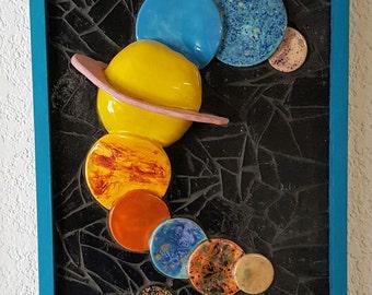 "Solar System Mosaic Wall Piece - 3D -  22""x 13""x 3"""