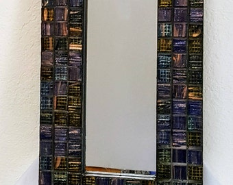 Mosaic Glass Wall Mirror (or Picture Frame) -  Deep Rich Tiles in Blues, Purple, and Black