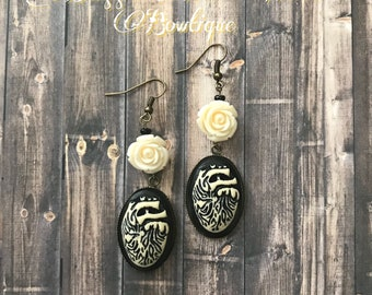 Beating Heart and Rose Earrings